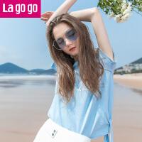 【秒杀价39.9】Lagogo2019年夏季新款时尚系带显瘦圆领上衣字母印花短袖T恤女