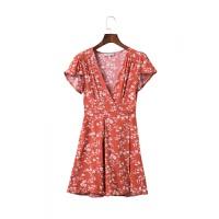 欧美2018夏季时尚女装连衣裙V领短袖印花沙滩裙女短裙 如图