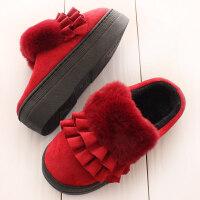 可爱保暖超厚底棉拖鞋女高跟冬季毛毛拖松糕防水台内增高防滑外穿