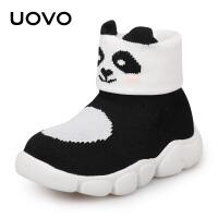 【1件3折价:98元】UOVO2020冬季新款儿童袜子靴中小童宝宝针织毛线袜鞋男童女童袜靴加绒保暖儿童靴子女 熊猫