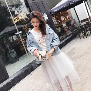 谜秀牛仔外套女小清新2018春装新款韩版学生宽松刺绣短款夹克春秋