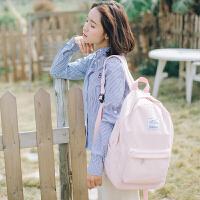 双肩包女2018新款韩版百搭小清新高中学生旅行背包简约纯色书包