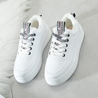 小白鞋女冬季棉鞋加绒板鞋初中生运动鞋白球鞋中学生韩版百搭白鞋 黑色 加绒