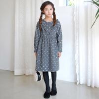 复古韩版波点女童装连衣裙圆领宽松中大童裙