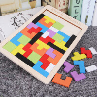 【89元5件】儿童早教俄罗斯方块积木拼图木质彩色立体2-4岁-6岁宝宝益智力开发男孩女孩玩具