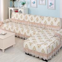 欧式沙发垫四季通用布艺坐垫子简约现代沙发套罩全包非�f能套全盖