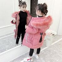 女童棉衣2018新款秋冬装大儿童加厚棉袄洋气中长款小女孩外套 粉色