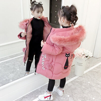 女童棉衣2018新款秋冬装大儿童加厚棉袄洋气中长款小女孩外套 粉色 发货周期:一般在付款后2-90天左右发货,具体发货时间请以与客服协商的时间为准