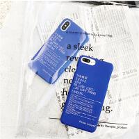 日系个性文字苹果7plus手机壳女款半包磨砂硬壳iphone8x潮男6s薄 iPhone7 蓝底日文错误