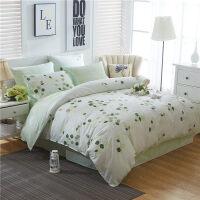 全棉床上用品四件套双人2.0m纯棉学生宿舍床单被套1.5/1.8m床套件 【1.5m床 被套160x210cm 床单2