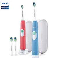 飞利浦(PHILIPS)电动牙刷成人声波震动充电式软毛牙刷头 情侣版 HX6234/35