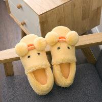 包跟卡通棉拖鞋女厚底冬男情侣可爱家居家拖鞋儿童防滑月子棉鞋