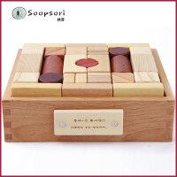 soopsori1-2岁3-6周岁礼品宝宝儿童早教益智积木玩具韩国木制婴儿