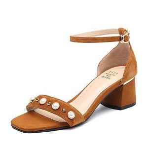Tata/他她2018夏专柜同款羊皮珍珠水钻一字带粗高跟女凉鞋FM406BL8