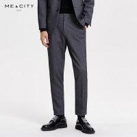【1件3折价:101.7】MECITY男装秋季新款羊毛时尚纹理舒适西裤男士休闲西装裤