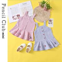 【119元4件】铅笔俱乐部童装2021夏装新款女童吊带裙儿童低腰连衣裙宝宝条纹裙