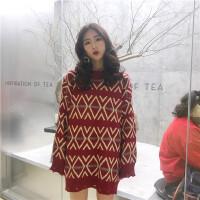 冬季韩版中长款套头圣诞毛衣裙女复古修身显瘦加厚针织衫打底衫