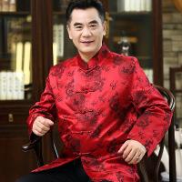 新款祝寿唐装男中老年春秋长袖唐装男外套中式中国风老人唐装男装
