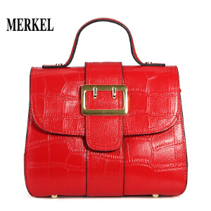 莫尔克(MERKEL) 真皮女包2018新款百简约时尚潮韩版头层牛皮鳄鱼纹手提单肩斜挎包 红色新娘包