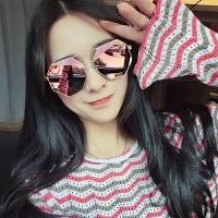2018新款墨镜女新款韩版多边形圆脸眼镜凹造型个性可配近视粉色太阳镜