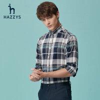 Hazzys哈吉斯�n版修身�r尚格子�r衫男士新款�O�感�却�l�y�r衣