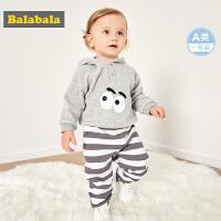 巴拉巴拉童装帅宝宝长袖套装男新款周岁婴儿衣服两件套加绒潮