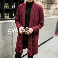 冬春季男士无扣风衣中长款针织衫大衣男装青年大码披风毛线衣外套