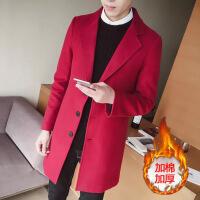 秋冬季毛呢子大衣男中长款风衣男士加厚修身帅气潮流妮子外套披风 -加棉加厚
