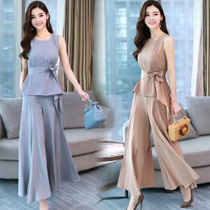 套装/套裙2018年夏季舒适修身纯色气质韩版简约宽松