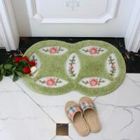 韩式简约田园地垫玫瑰花朵进门垫吸水浴室防滑垫阳台厨房脚床边垫