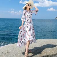 №【2019新款】去海边适合穿的裙子海南三亚旅游衣服度假沙滩围裹裙夏装女连衣裙