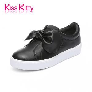 KissKitty奇思凯蒂2017秋新款休闲羊皮小白鞋一脚蹬蝴蝶结板鞋