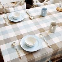 防水桌布布艺台布格子家用简约棉麻清新正方形小欧式餐桌布长方形