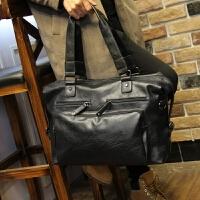新款男士商务包手提包大容量旅游男包短途商务出差单肩行李包袋皮 黑色