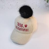儿童帽子女秋冬2韩版3宝宝保暖鸭舌帽加绒5男童棒球帽6毛球帽8岁 均码