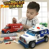 男孩子乐高积木消防车警察儿童拼插组装益智玩具六一3-6岁8电动车