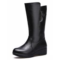 ����鞋冬季新款真皮女靴厚底加�q加厚保暖中筒靴中老年女棉鞋真皮 黑色 5799��蚀a