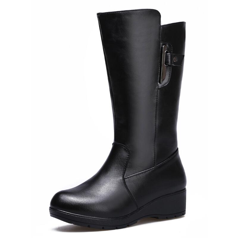 妈妈鞋冬季新款真皮女靴厚底加绒加厚保暖中筒靴中老年女棉鞋真皮 黑色 5799标准码