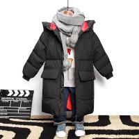 儿童男童羽绒加厚中长款过膝外套冬装棉袄宝宝中大童 黑色 中长款