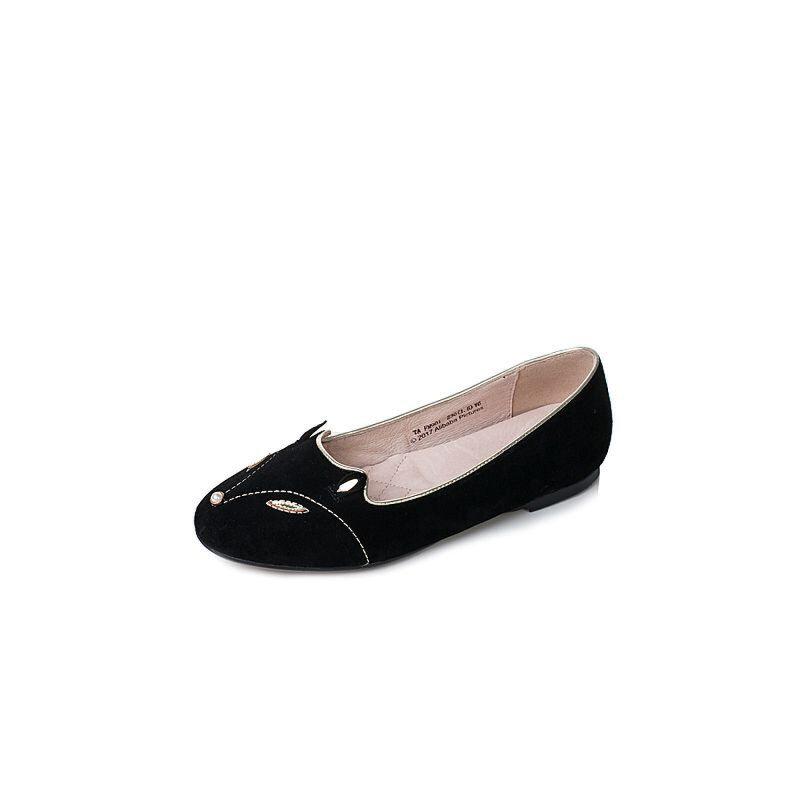 Tata/他她2017秋季黑色羊皮珍珠金属风时尚内增高女浅口鞋FM901CQ7