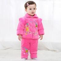 女宝宝唐装冬季女童加厚加绒婴儿外出服0-6-12个月周岁新年装 粉色喜鹊 两件套装