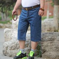新夏季款男士弹力高腰直筒大码牛仔短裤男加肥加大休闲牛仔短裤 36 码 腰围2尺8