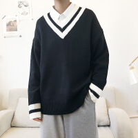 №【2019新款】小伙子穿的新款情侣港风V领毛衣男士韩版宽松学生打底针织衫外套潮