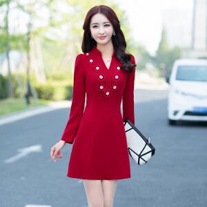 秋装长袖连衣裙2018新款女韩版时尚修身气质显瘦百搭V领A字打底裙