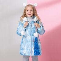 冬装女童羽绒服中长款白鸭绒儿童冬季外套轻薄小女孩童装 浅蓝色 爱莎