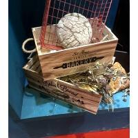 烘焙面包装饰木箱复古装饰摆件面包店饰品做旧木箱橱窗装饰摆件