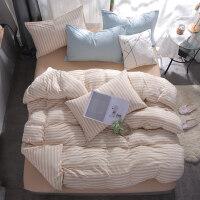 全棉天竺棉针织棉四件套 简约纯棉裸睡日式床上用品床笠床单被套