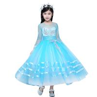 新款儿童礼服长袖秋冬季女童模特走秀公主裙长裙钢琴演出服花童蓬蓬裙 浅蓝色