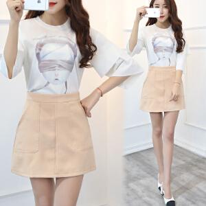 大爱夏季优雅甜美百搭套装/套裙短袖印花上衣+纯色修身半身