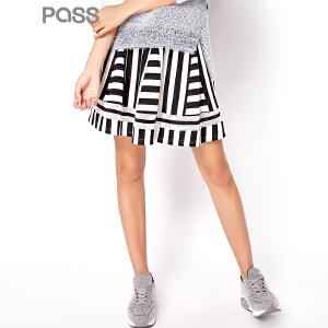 【不退不换】PASS潮牌秋装新款 时尚条纹网纱百搭半身裙6631731014